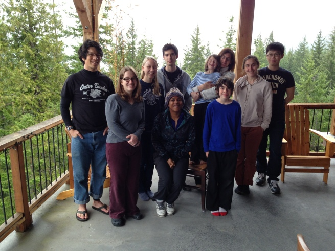 Group trip to Lake Kachess, WA in early spring 2013. Front: Heather Barnett, Sharri Zamore, Anselm. Back: Rich Pang, Ali Weber, Phil Mardoum, Eliot, Adrienne, Alison Duffy, Sangwook Lee.